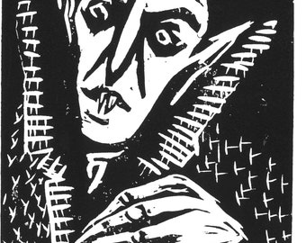 The Count Linocut Print