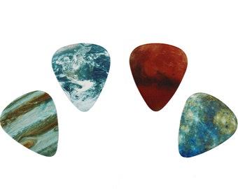 4 PLANET guitar picks, Custom Guitar Pick, Custom Guitar Picks, Personalized Guitar Pick