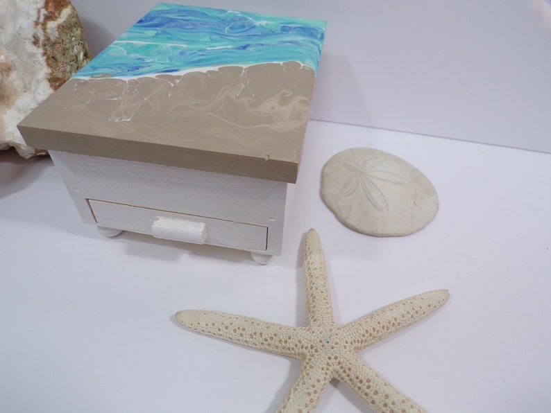 Abstract Beach Wood Jewelry Box With Mirror and Drawer Hand Painted Coastal Decor