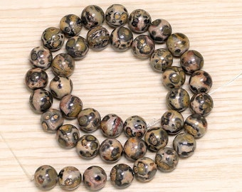 Natural Leopardskin Jasper Bead  Round Leopard Skin Poppy Jasper Granite Ball Beads Necklace Wholesale
