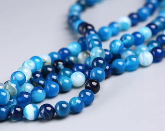 "Round Sardonyx Beads Blue Agate Ball Bead Wholesale 4mm 6mm 8mm 10mm 12mm 14mm Beads 15"" Strand"