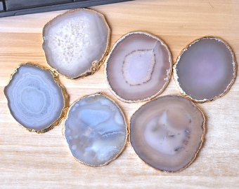 Agate Coaster Large White Grey Natural Agate Slice Coasters Gold Electroplated Edges Home and Wedding Decor Calligraphy