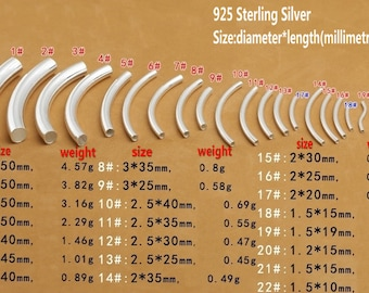 925 Sterling Silver Tube Beads Silver Smooth Spacer Beads silver curved tube High Quality Y308