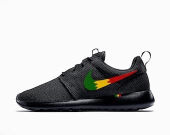 sneakers for cheap 78734 eb3b5 wholesale nike roshe run custom rastafari design rasta design roshe red  yellow and green men and