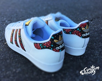 best service 96eaf c6822 Custom Adidas Superstar for men and women, Adidas custom Hand Painted floral  design, Unisex sizes, Adidas superstar, Original