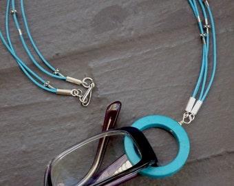 Eyeglass Holder - Necklace. Turquoise Blue Circle Lanyard - Glasses Holder. Sterling Silver and Leather. Eyeglass Lanyard.