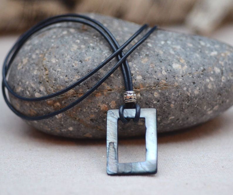 Eyeglasses Holder - Necklace. Mother of Pearl Loop Leather Glasses Holder. Slate Gray Blue Square Glasses Lanyard.