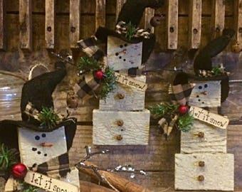 primitive christmas snowman set3 ornaments let it snow series snowman handmade antique wood lath gatherings adorable holiday decor - Primitive Christmas