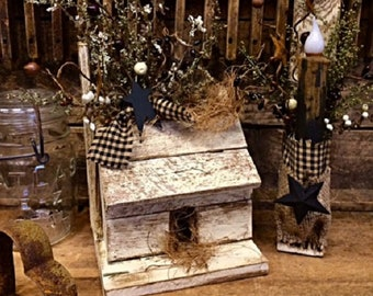 Primitive Home Decor Rustic Handmade Wood Cabin Shelf Mantle Display Black Star Berries For Your Country