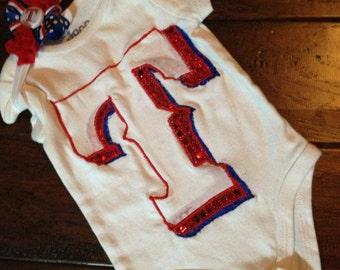 Texas Rangers little girls T applique bling onesie