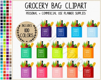 sale 100 grocery bag clipart groceries planner stickers rainbow shopping cart sticker food clipart grocery list shopping bag shopping basket