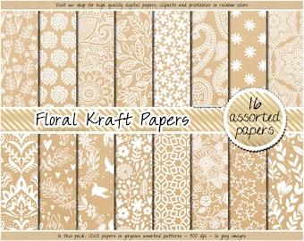 c00ceaffeeef SALE Kraft digital paper floral Kraft paper floral digital paper printable Kraft  paper pattern flower background wedding kraft digital paper