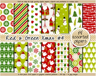 SALE christmas digital paper red and green christmas digital paper holiday digital paper pattern santa snowflake snowman tree mistletoe star