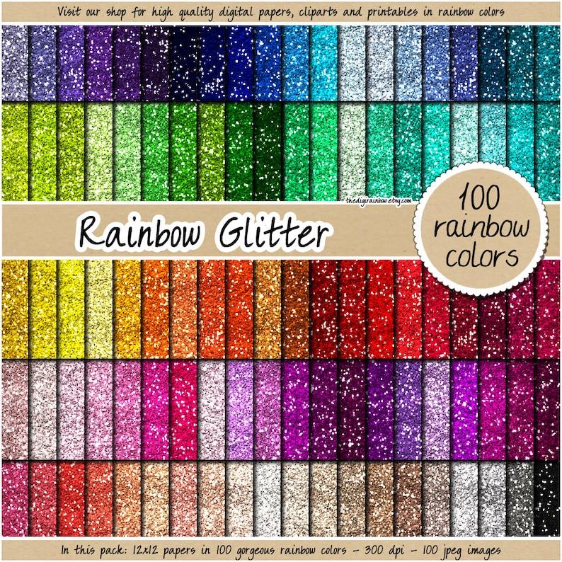 SALE 100 glitter digital paper rainbow glitter digital paper image 0