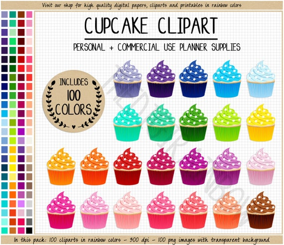 SALE 100 CUPCAKE Clipart Rainbow Cupcake Planner Stickers