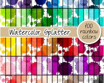 SALE 100 watercolor splashes digital paper watercolor stains digital paper paint splatter clipart rainbow papers pastel bright neutral dark