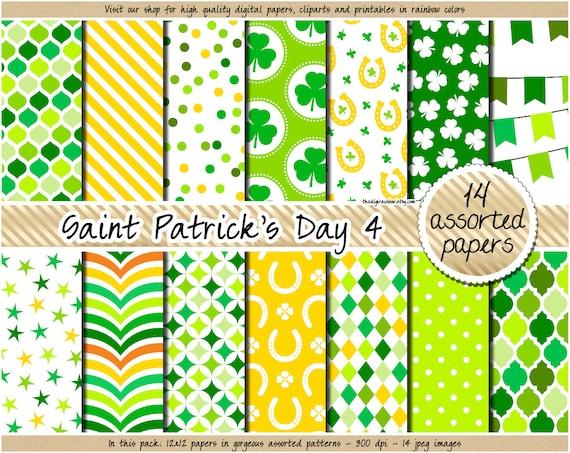 SALE St Patricks Day Digital Paper Leprechaun Digital Paper Etsy Magnificent Irish Patterns