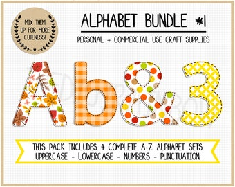 Fall Alphabet floral Alphabet Letters clipart alpha pack Lowercase Uppercase Numbers PNG sublimation design gingham Faux Applique polkadot