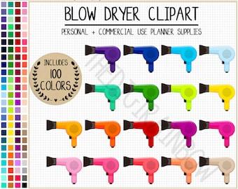100 BLOW DRYER clipart hair clipart hairdresser planner stickers blow dryer stickers fashion printable planner stickers rainbow Erin Condren