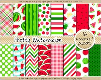 SALE Watermelon digital paper printable watermelon pattern pink and green digital paper watermelon clipart summer background fruit applique