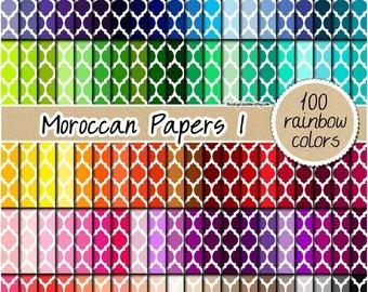 SALE 100 rainbow moroccan digital paper quatrefoil digital paper quatrefoil stickers scrapbooking kit pattern 12x12 pastel neutral bright da