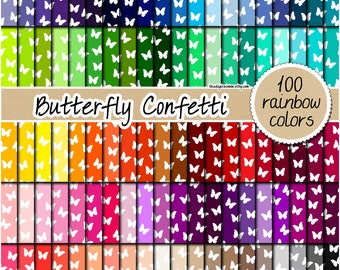 SALE 100 butterfly digital paper rainbow butterfly paper butterfly pattern butterfly printable scrapbooking 12x12 pastel neutral bright dark