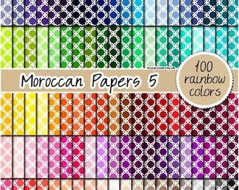 SALE 100 Moroccan digital paper quatrefoil digital paper rainbow mosaic tiles paper scrapbooking kit pattern 12x12 pastel neutral bright dar