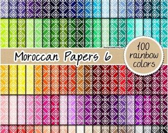 SALE 100 moroccan digital paper quatrefoil digital paper rainbow quatrefoil clipart scrapbooking kit pattern 12x12 pastel neutral bright dar