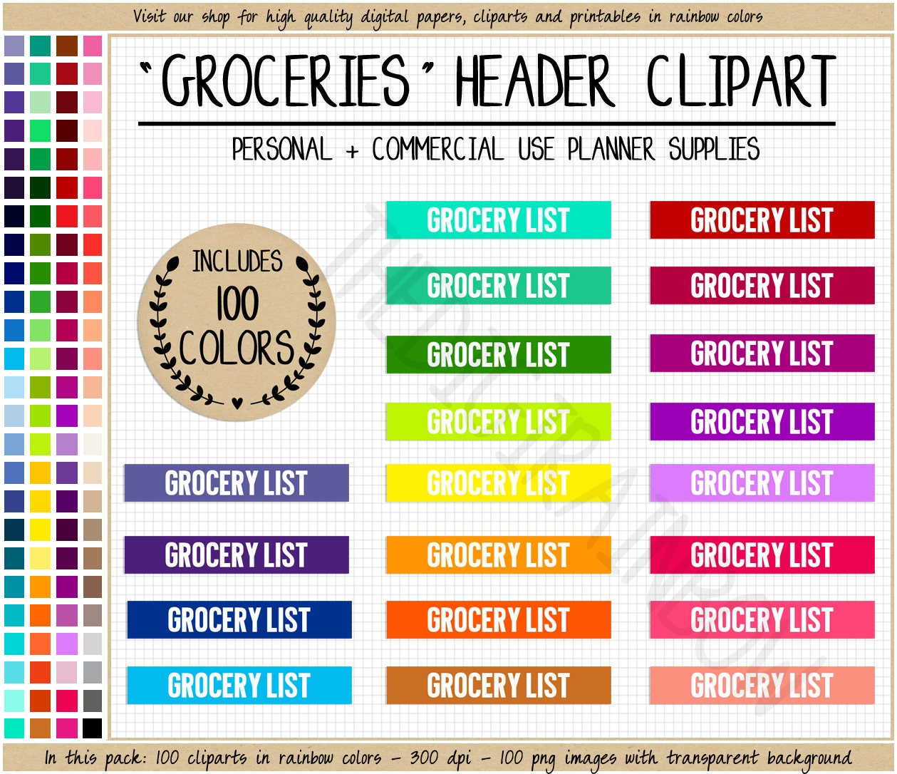 sale 100 grocery list planner sticker printable grocery | etsy