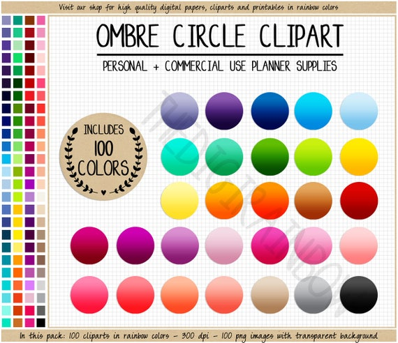graphic relating to Printable Circle Stickers called SALE 100 OMBRE CIRCLE clipart blank circle stickers brilliant circle planner sticker colourful Erin Condren printable stickers rainbow Eclp icon