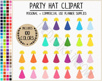 SALE 100 PARTY HAT clipart party hat stickers birthday clipart birthday stickers rainbow party graphics colorful party printable stickers