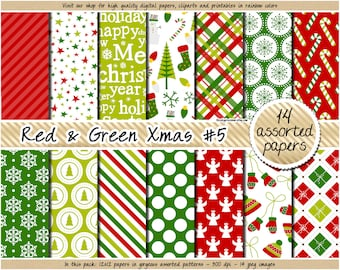 SALE christmas digital paper red and green christmas digital paper holiday digital pattern tree candy cane snowflake snowman angel mistletoe