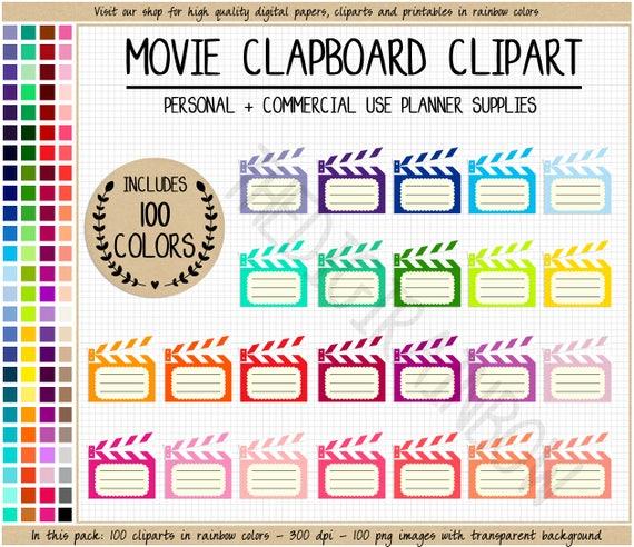 SALE 100 MOVIE CLAPBOARD Clipart Movie Theater Date