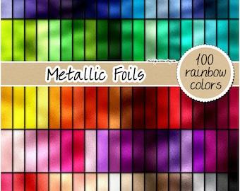 SALE 100 Foil digital paper rainbow metallic digital paper rose gold foil clipart printable foil background pastel paper silver foil texture
