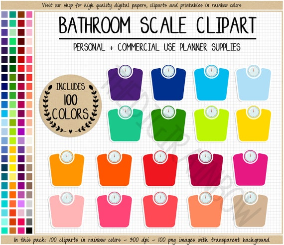 sale 100 bathroom scale clipart rainbow scale planner sticker etsy
