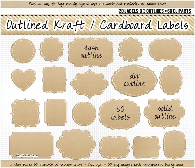 fae05aebd9b5 SALE Kraft paper label clipart digital Cardboard labels Kraft