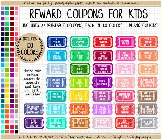 sale reward coupon clipart printable reward ticket rainbow etsy