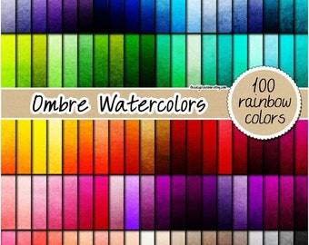SALE 100 ombre watercolor digital paper painted digital paper ombre digital paper rainbow watercolor print 12x12 pastel neutral bright dark