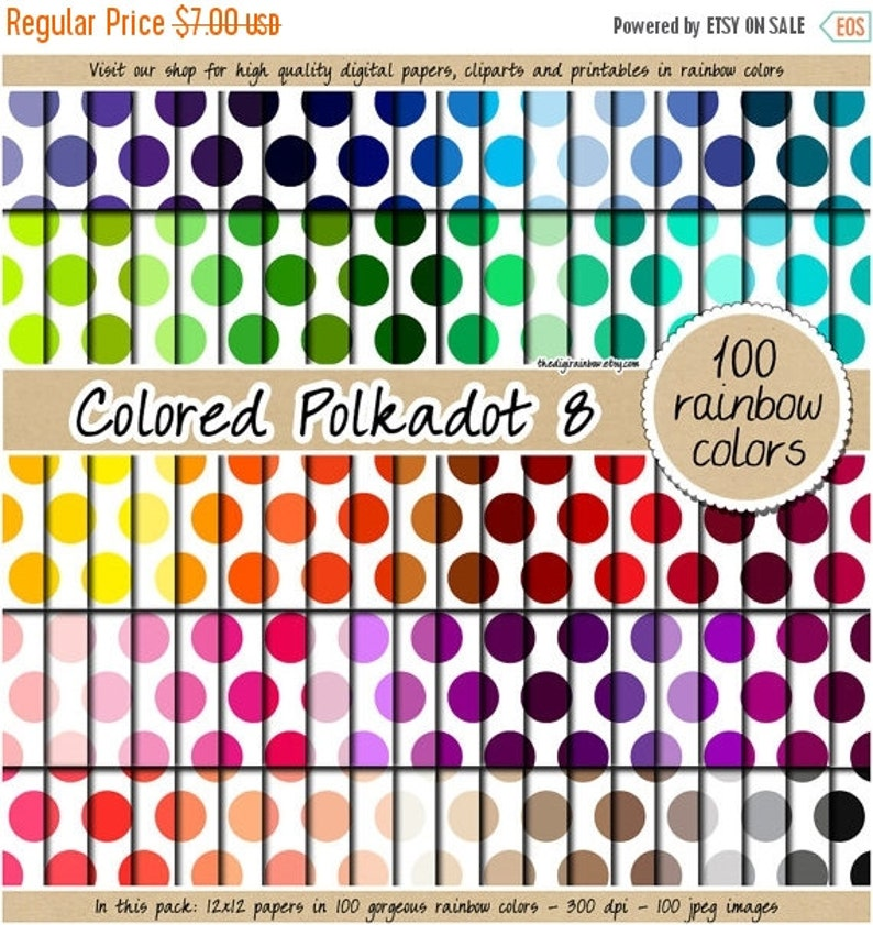 SALE 100 colored big confetti digital paper polkadot digital paper sequin  digital paper rainbow scrapbooking pattern 12x12 pastel neutral br