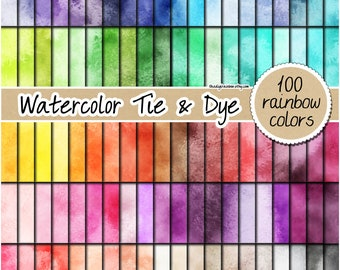 SALE 100 tie and dye digital paper watercolor digital paper rainbow watercolor clipart pastel watercolor background bright paint pattern