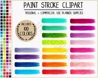 SALE 100 PAINT STROKES clipart rainbow watercolor clipart paint splash stickers watercolor planner stickers paint brush strokes art graphics