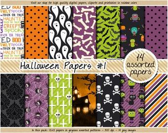 SALE Halloween digital paper Halloween clipart Halloween printable ghosts monsters bats spiders bones clip art green orange purple black