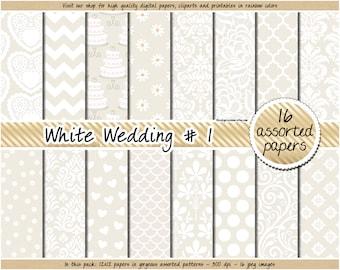 SALE White wedding digital paper wedding pattern wedding invitation damask digital paper wedding clipart white lace wedding planner sticker
