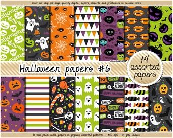 SALE Halloween digital paper Halloween clipart printable Halloween background ghost jack-o-lantern bat spider bone purple orange black green