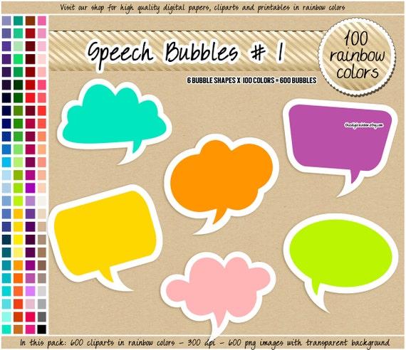 sale 600 speech bubbles digital clipart frames tags labels etsy rh etsy com free digital scrapbooking clipart Digital Scrapbooking School