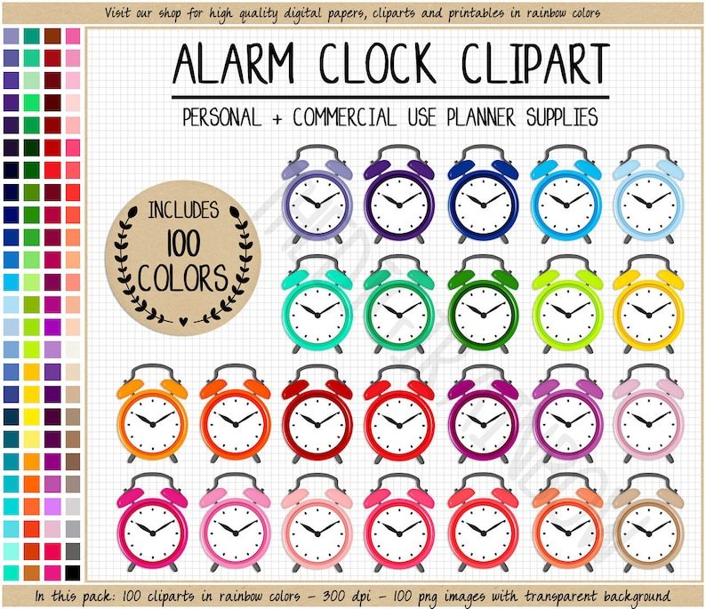 SALE 100 ALARM CLOCK clipart Rainbow alarm clock planner stickers printable  planner stickers Erin Condren Commercial Use planner clipart