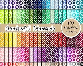 SALE 100 quatrefoil digital paper lattice moroccan digital paper rainbow digital paper scrapbooking pattern 12x12 pastel bright stickers