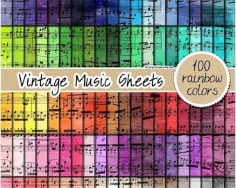 SALE 100 music sheet digital paper vintage watercolor digital paper rainbow music pattern scrapbooking printable 12x12 pastel neutral bright