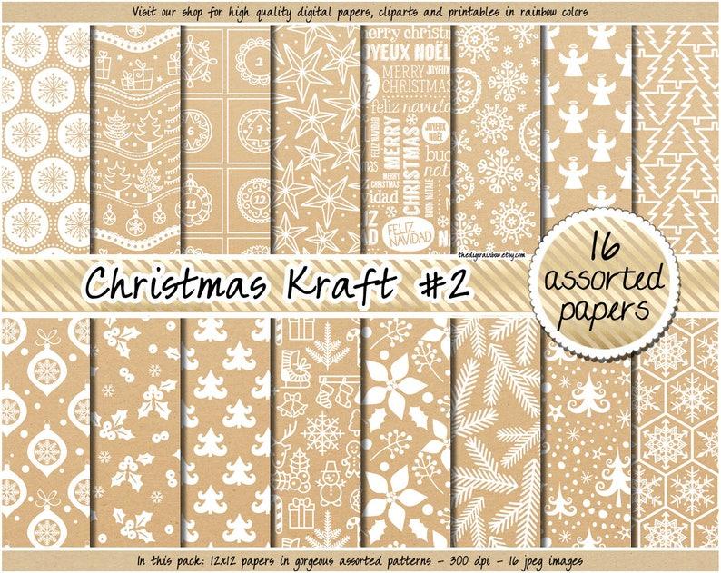 058283a00f3c SALE Christmas Kraft digital paper Christmas digital paper
