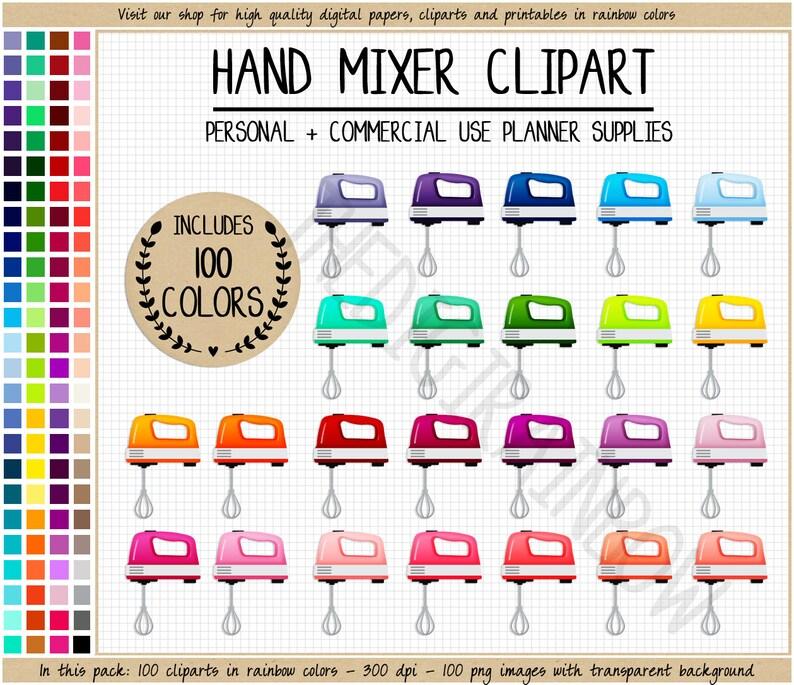 Sale 100 Mixer Clipart Kitchen Aid Rainbow Utensils Stickers Etsy